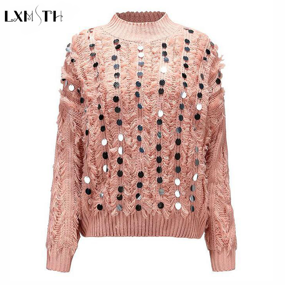 2018 Women Beaded Sequined Sweaters and Pullovers Fashion Tassel Knit Tops Europe Ladies Long Sleeve Casual Pullovers White
