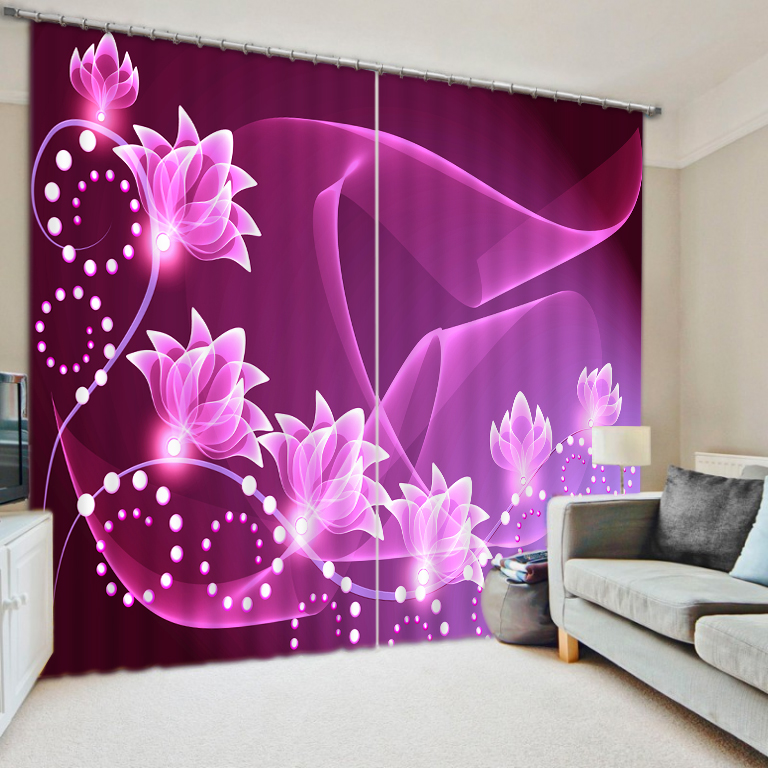 High Quality Purple Flower Luxury Blackout 3D Curtains for Living Room Bedding Room Office Drapes Cotinas