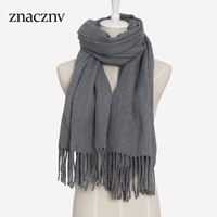 2018 New Design Luxury Brand Women Cashmere Pure Color Long Scarf Winter Warm Shawl