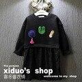 Nueva 2015 otoño invierno moda lentejuelas carta con capucha vestido para las muchachas del remiendo del cordón vestidos los niños se adaptan a 2 ~ niñas 7 age ropa