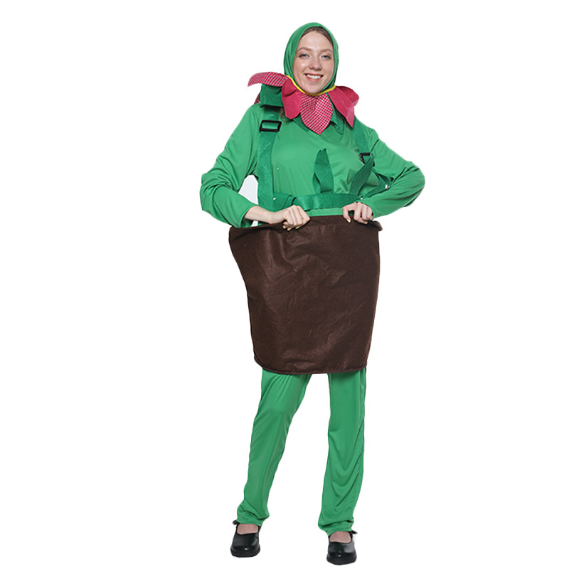 Funny Flower Plant Pot Costume Cosplay Women Halloween Costume For Women Adult Carnival Party Performance Fancy Dress Suit