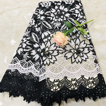 Tollola African Lace Fabric 2018 High Quality Lace Embroidery Fabric With 3d Flower French Lace Fabric with Stones