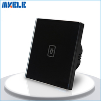 Free Shipping Touch Dimmer Switch EU Standard Wall Switch Black Crystal Glass Panel Wall Light Touch