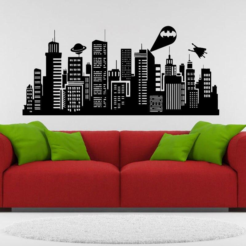Большой Размеры 132x41 дюймов Бэтмен Готэм-Сити настенные комиксов винил Стикеры Детская комната дома Книги по искусству Декор E605-A