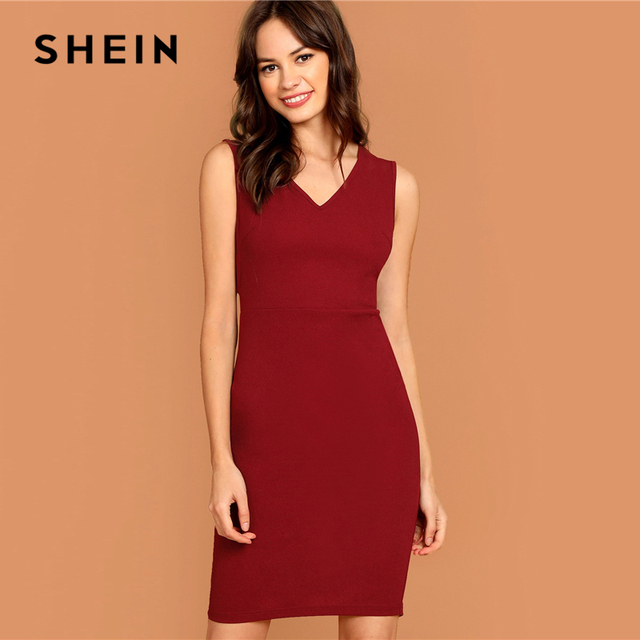 SHEIN Burgundy Plunging Neck Pencil Dress Solid Sleeveless V Neck Bodycon Dress Elegant Party Autumn Modern Lady Women Dresses 1