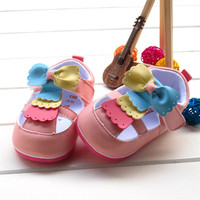Baby Girl Shoes First Shoes Mix Color Hook Loop 2015 Autumn Soft Sole Pram Shoes For