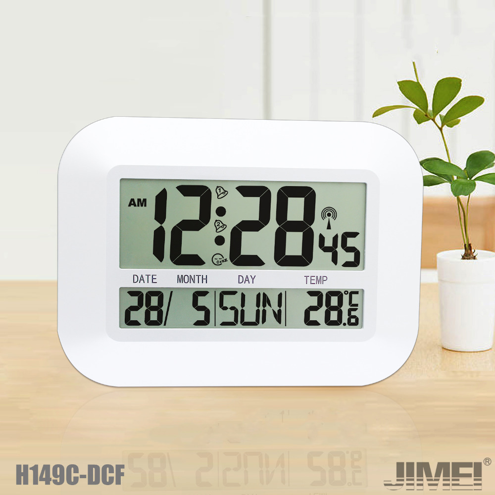 JIMEI H149C-DCF Digital Wall/Table Clock Radio controlled wall Clock with Alarm Snooze Temperature Calender for household use