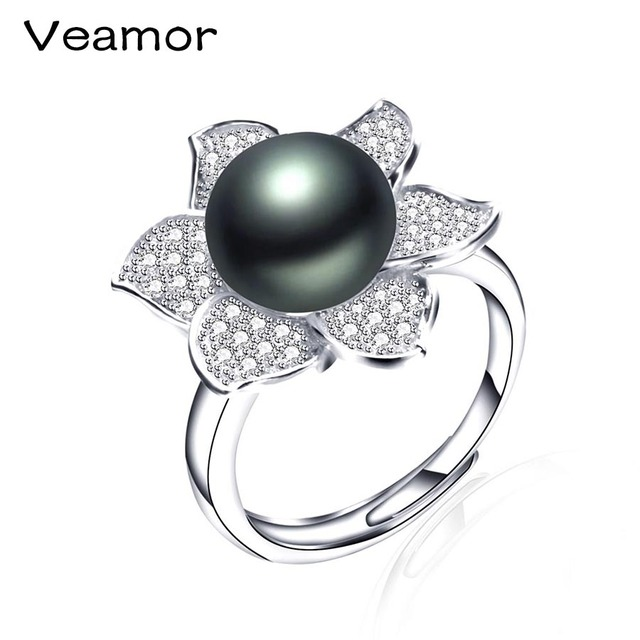 2587b59ca VEAMORE 925 Sterling Silver Jewelry Round Shape Radiant Elegance, Clear CZ  Flower Rings For Women Big Size Black Pearl Jewelry