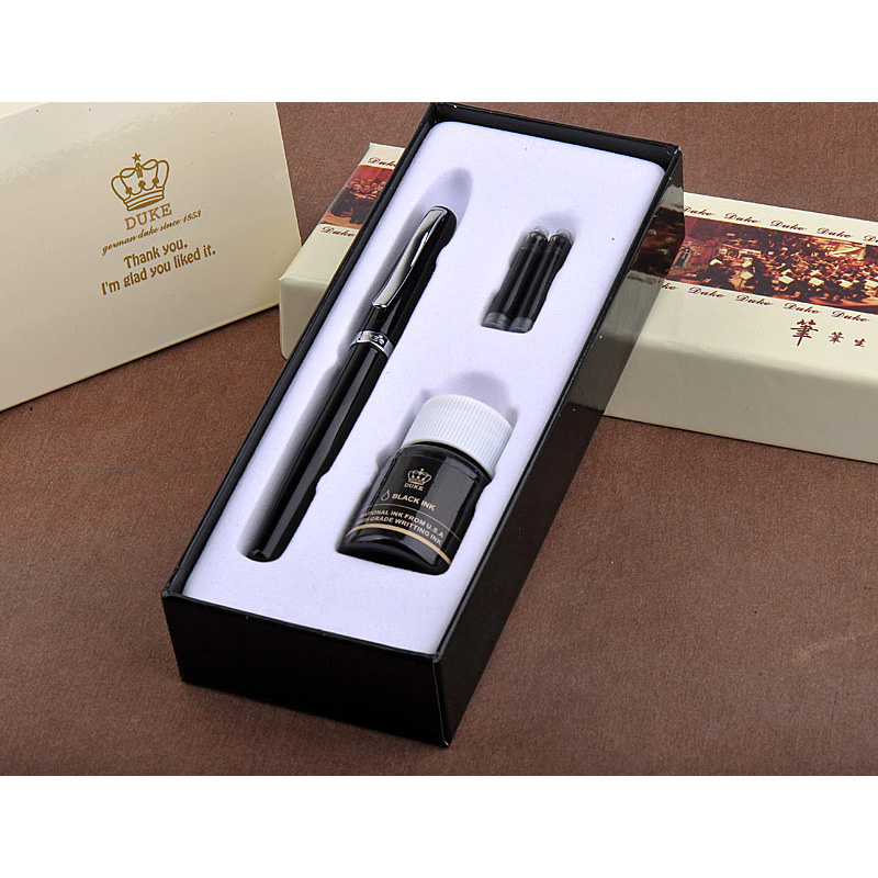 Writing Stationery Promotion Duke 209 Luxury Black and Silver 0.38mm Extra Fine Nib Fountain Pen Metal Steel Ink Pens for Gift writing business stationery crocodile 136 black and gold fountain pen with 0 5mm nib luxury metal ink pens for christmas gift