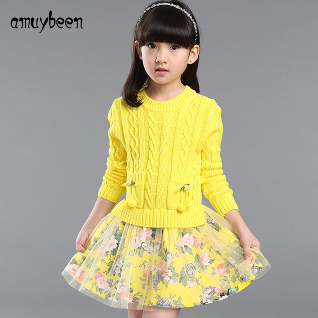 cc33f2bf1 Amuybeen Girls Winter Dresses 2017 Autumn Flower Girl Dresses Long ...