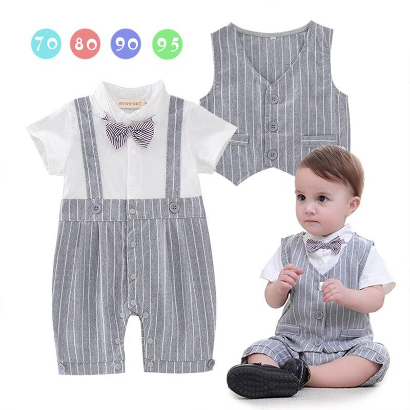 da4cbaebdbbe 2PCS Gentleman Baby Boys Romper Suit Christening Wedding Jumpsuit Kids  Baptism Tuxedo Outfit Striped vest Party Suit Child Gift