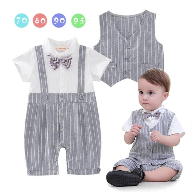2pcs Gentleman Baby Boys Romper Suit Christening Wedding Jumpsuit