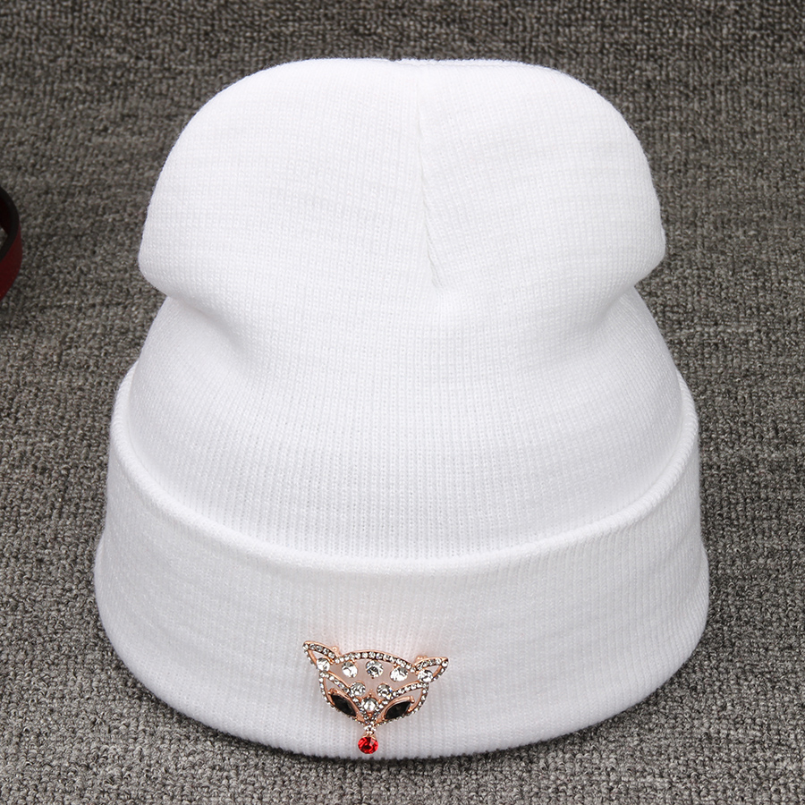 Hats For Women Sexy Fox Rhinestones Accessory Brand Hot Sale Warm Vogue Beautiful Knitted Casual Winter Hats Skullies Beanies цепочка