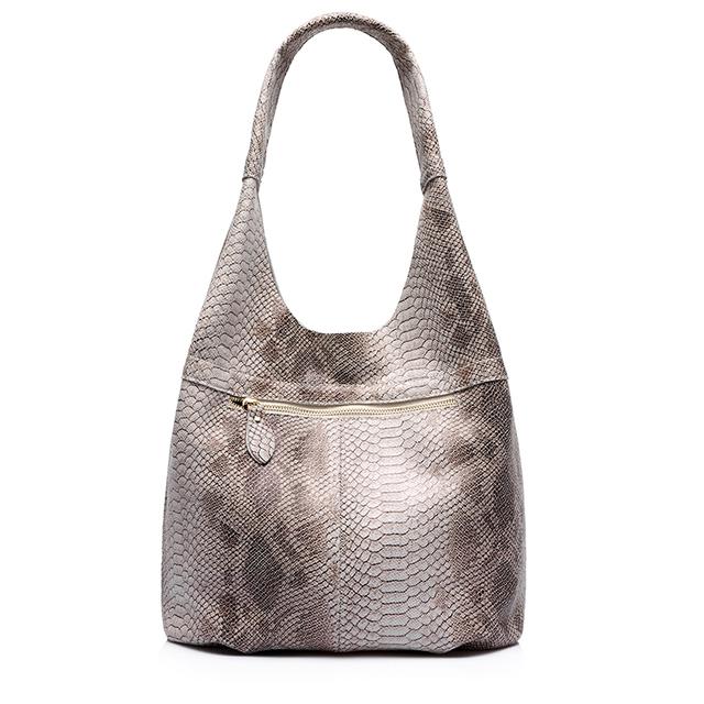 REALER brand new women genuine leather tote bag serpentine pattern shoulder bag large capacity female handbag