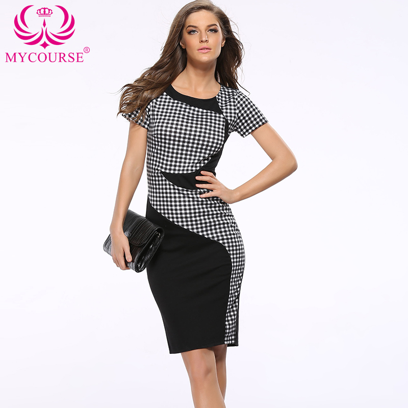 MYCOURSE Official Store MYCOURSE OL Women Party Plaid Dresses Slim Work Business Stretch Pencil Package Hip Patchwork Short Sleeve Lady Sheath Dresses