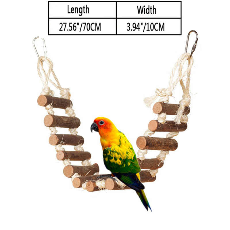 Pet Birds Parrot Swing Toys Climbing Ladder Wooden Colorful Multiple patterns optional and Chewing Hanging Rope Bell Decor