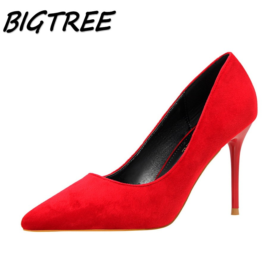 BIGTREE summer women Pointed Toe High heels shoes woman shallow flock pumps ladies Elegant Party Wedding thin heels shoes new spring summer women pumps fashion pointed toe high heels shoes woman party wedding ladies shoes leopard pu leather