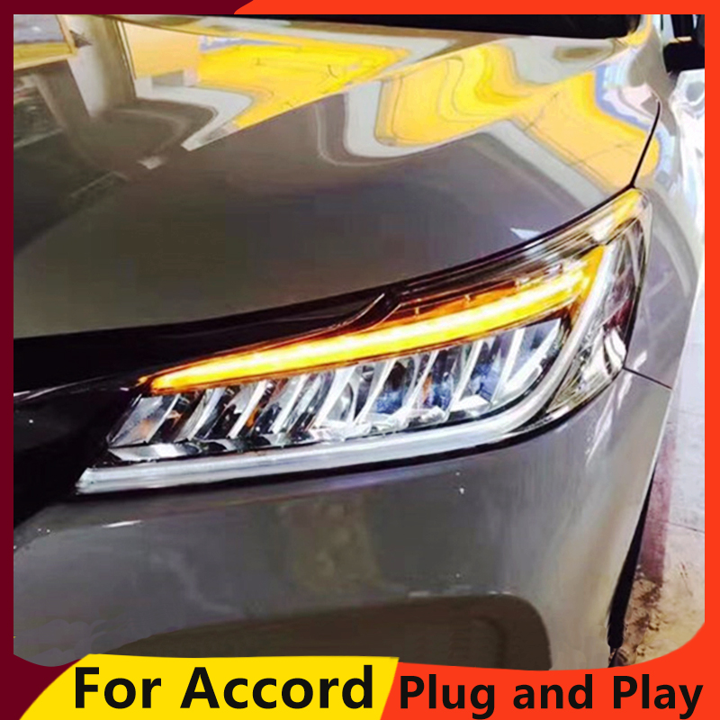KOWELL car styling for Honda Accord 10th Headlights 2016 2017 LED High Beam LED Low Beam