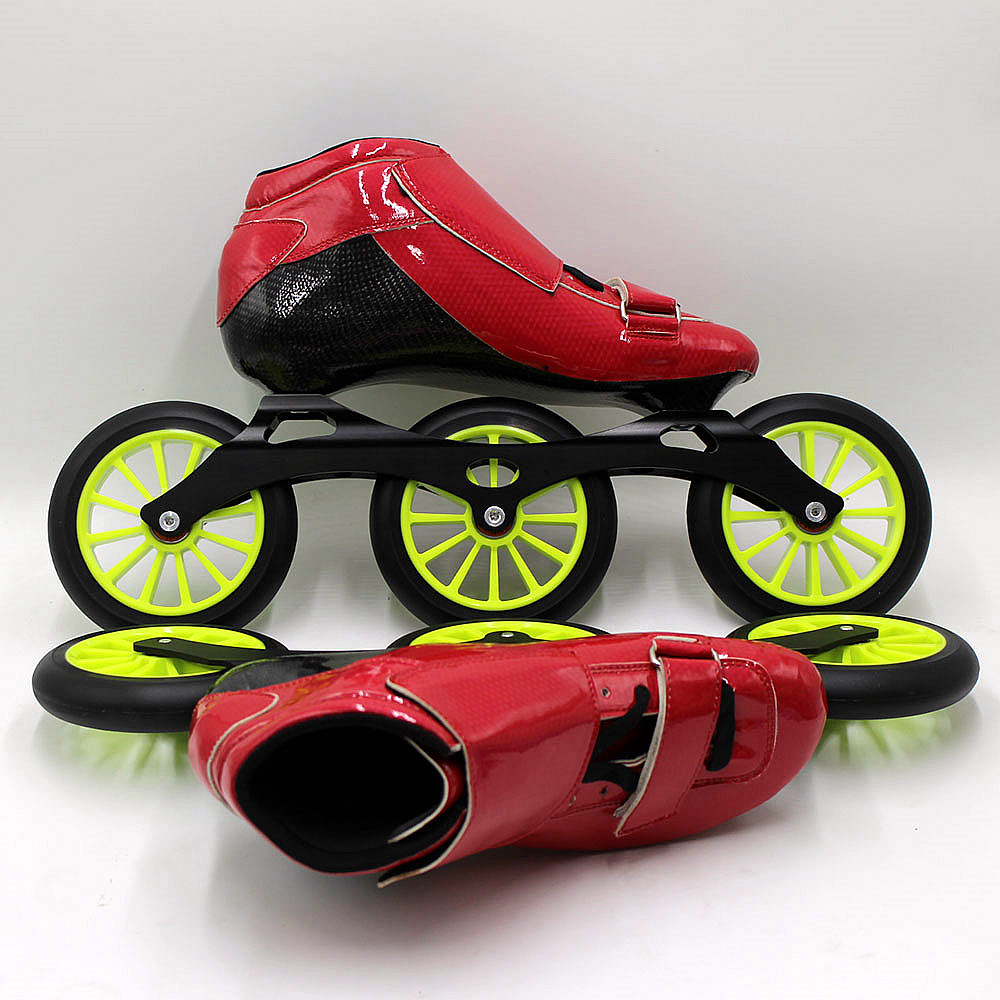 Roller skates red - Speedskates Sts Skating Manual Inline Speed Skating Shoes Red And Green Roller Skates Speed Wheels In Skate Shoes From Sports Entertainment On