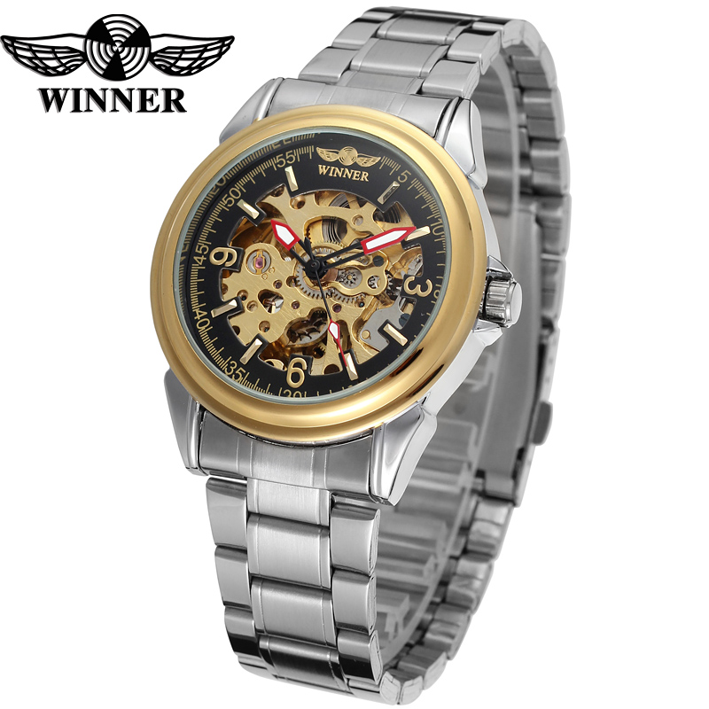 Fashion WINNER Men Luxury Brand Business Skeleton Stainless Steel Watch Automatic Mechanical Wristwatch Gift Box Relogio Releges ik luxury fashion casual stainless steel men automatic mechanical watch skeleton watch for men s dress wristwatch free ship