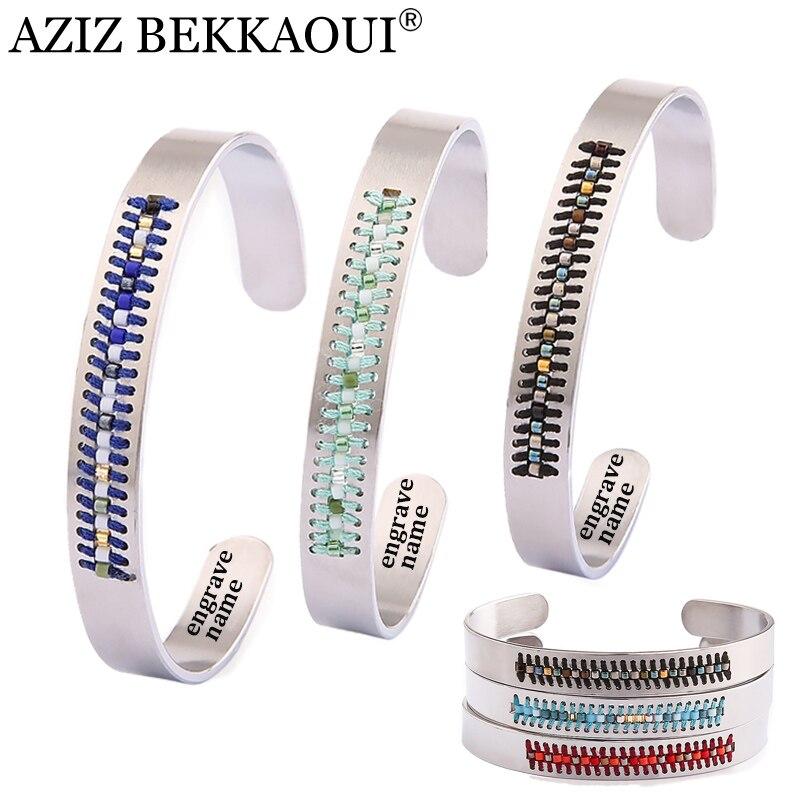 Armbänder & Armreifen Ehrlich Aziz Bekkaoui Bohemian Farbige Perlen Charme Armbänder Für Frauen Öffnung Manschette Armbänder Für Mädchen Damen Personalisierte Name Logo