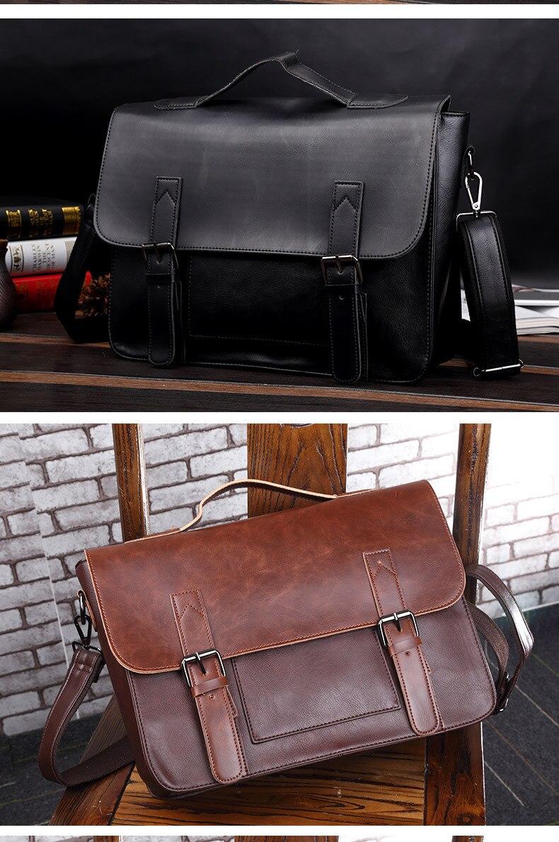 HTB13ii5R4TpK1RjSZFMq6zG VXaX Crazy Horse Artificial Leather Business Handbag Laptop Briefcases for Men Leather Casual Men Bag Messenger Shoulder Bags Man