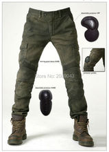 NEW 2016 KOMINE MOTORPOOL UBS06 Army Green Slacks jeans Motorcycle ride jeans Leisure Loose Version with protect equipment