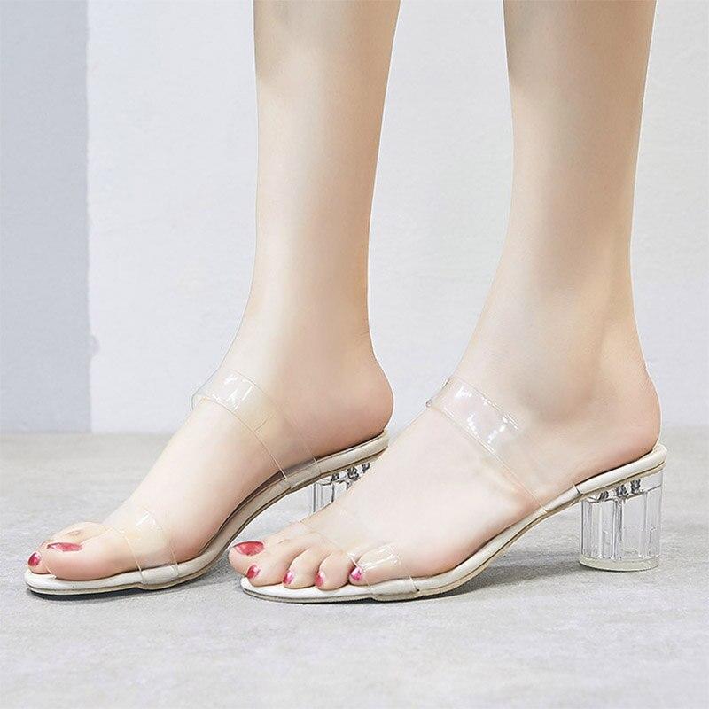 2019 Summer Glass Slipper High Heels Transparent Heels Slipper Woman Shoes Sexy Slids Jelly Shoes Beach Shoes Women mules 7368