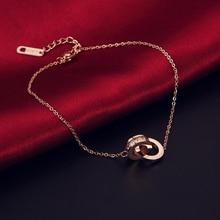 2018 Rome Digital Double Circle Rose Gold Bracelet Bracelet Charms Verre Rose Gold Bracelets For Women metal double circle hooked bracelet
