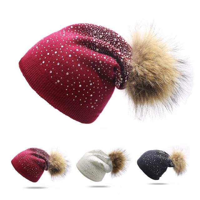 6fe0cc258b4 Women Winter Beanie Pom Pom Hat Rabbit Fur Wool Knitted Hat Shining  Rhinestone Casual Skullies Bonnet Double-deck Gorros Mujer