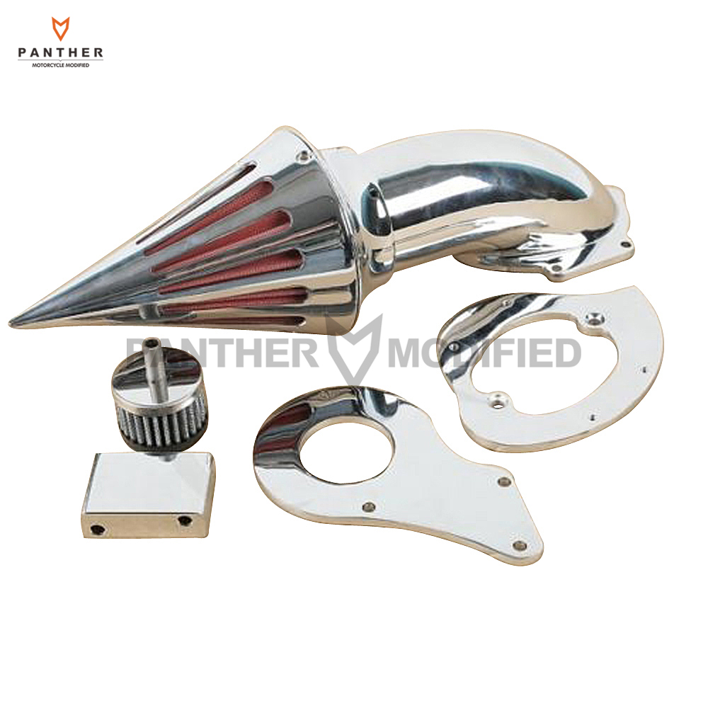 Chrome Aluminum Motorcycle Spike Air Cleaner Intake Filter case for Honda Shadow VLX600 VT600C 1999+ aftermarket motorcycle parts spike air cleaner kits intake filter for honda shadow 600 vlx600 1999 2012 chromed