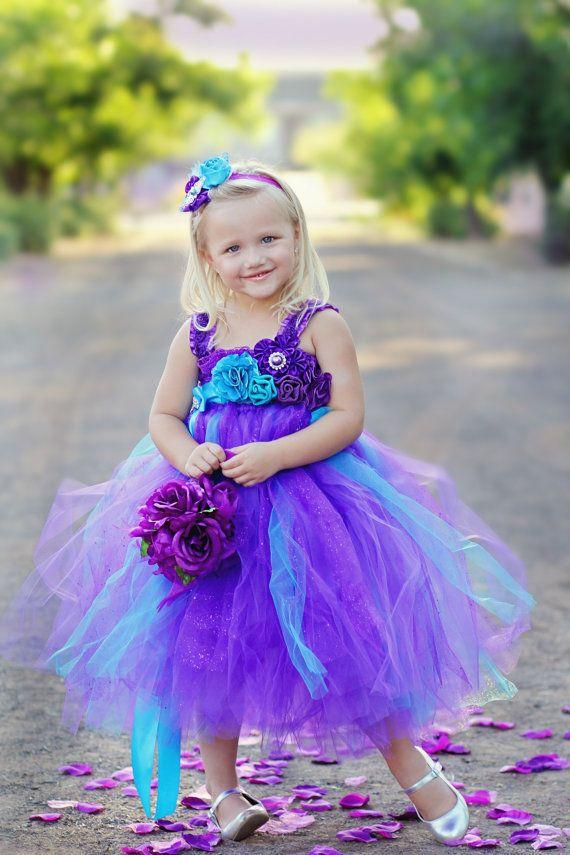 2016 Peacock Purple Organza Flower Girl Dress 2015 Tutu ...