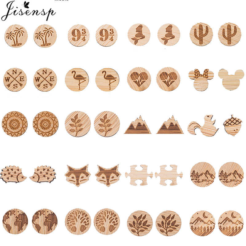 Jisensp Retro Small Animal Plant Wooden Earrings for Girls Handmade Jewelry Cute Mickey Tree World Map Stud Earrings kolczyki