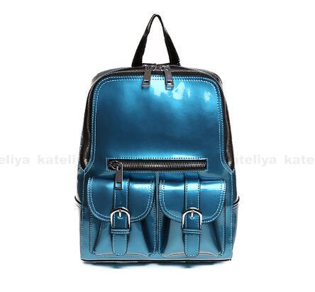 En plein air décontracté en cuir verni sac à dos grande capacité sac d'école imperméable