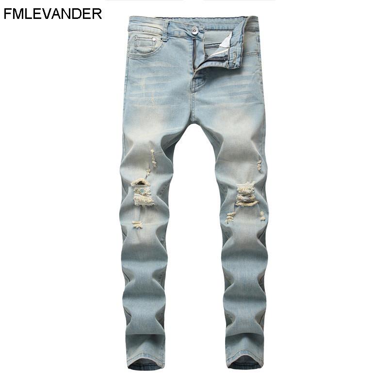 New Design Spring Light Denim Plus Size 42 Long Pants Trousers Jean Homme Skinny Jeans Men