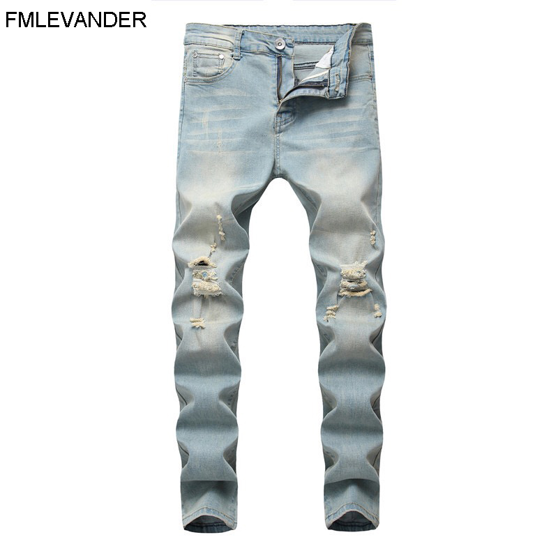 New Design Spring Light Denim Plus Size 42 Long Pants Trousers Jean Homme Skinny Jeans Men image
