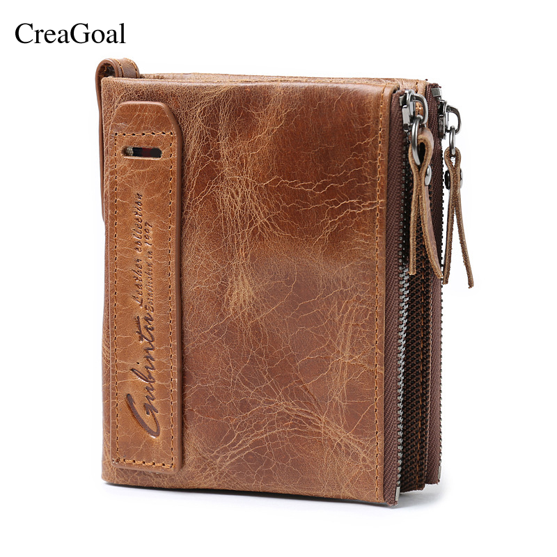 2018 HOT Genuine Crazy Horse Cowhide Leather Men Wallet Short Coin Purse Small Vintage Wallets Brand High Quality Designer