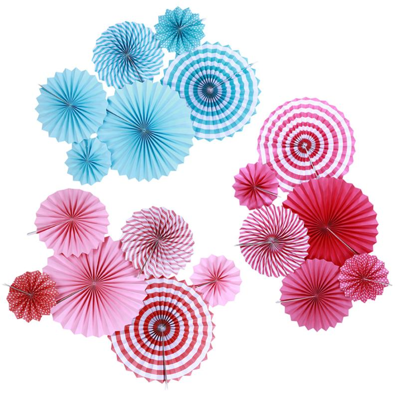 6pcs/Set Paper Fan Garland for Wedding Decorations Birthday Baby Celebrate Party New Year Home Hanging Rose Red / Blue / Pink