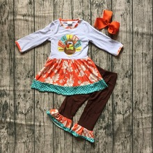 new arrivals Fall/Winter outfits Thanksgiving clothes turkey floral ruffles long sleeves orange polka dot pant match bow kids