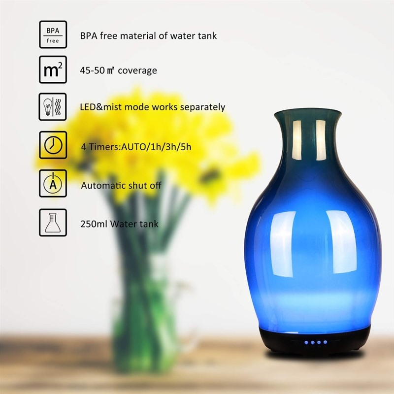 COOSA 3D Glass Vase Design Air Humidifier 250ml Essential Oils Diffuser Cool Mist Ultrasonic Humidifier for Bedroom Office Gift in Humidifiers from Home Appliances