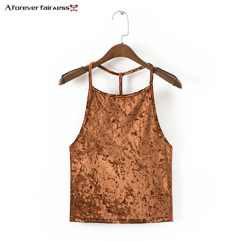 A Forever Crop Top Short New Summer Tank Top Velvet Female T-shirt women 2018 Sexy Halter Cropped Tops Vest Ladies Tank tops 660