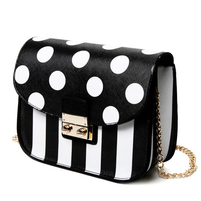 Famous Brands Women PU Leather Handbags black&white stripe Designer Women Bag Dot High Quality small Shoulder Messenger Bags famous brands handmade women shoulder bags fashion high quality designer black leather handbags ladies knitting messenger bag b