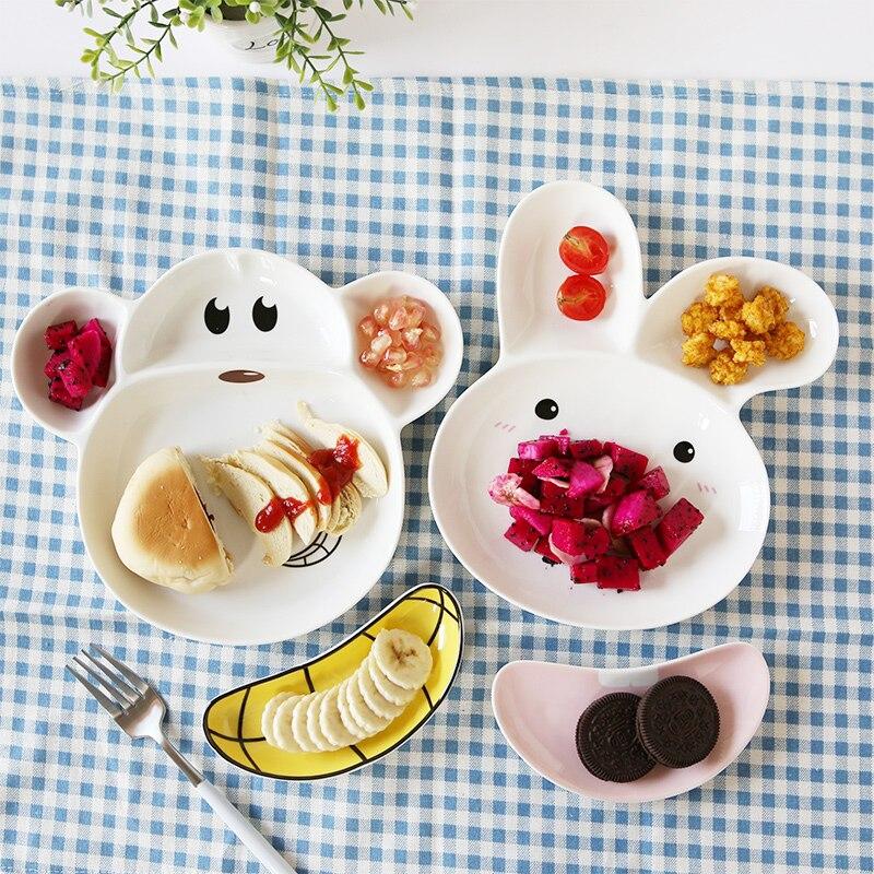 Creative Monkey Rabbit Porcelain Plate Bowl Sauce for Kids Ceramic Lunch Box Bento Food Container Dinnerware <font><b>Set</b></font> Crockery