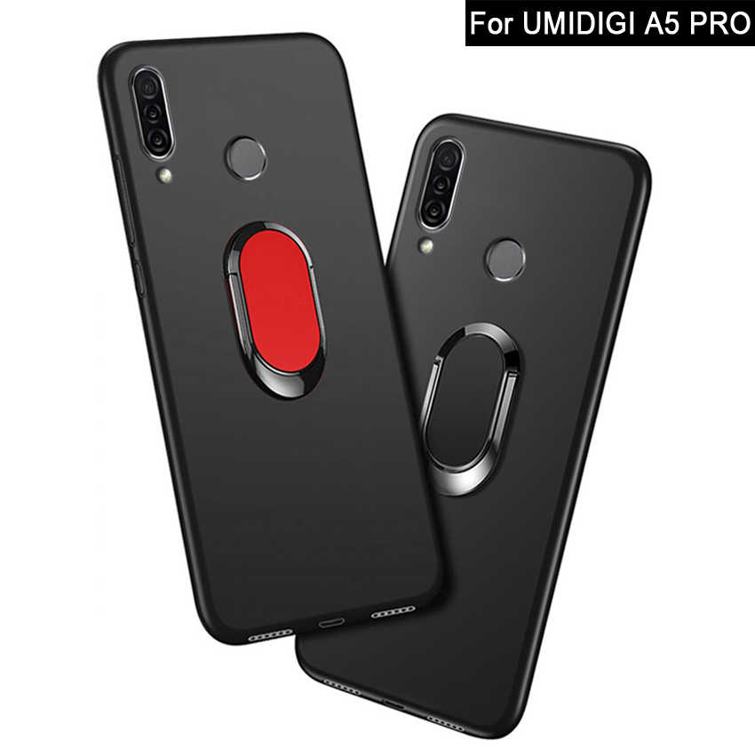 Funda for Umidigi A5 Pro Case luxury 6.3 inch Soft Black plastic Metal Finger Ring Cover for Umidigi A3 Pro 5.7 inch Phone Cases