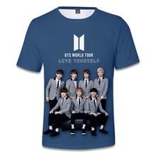 Korea BTS Love Yourself Print 3D T shirt Men/Women Hip Hop Streetwear Tshirt 2018 Boys Modis Blue T-shirt ShirtsTops Clothes