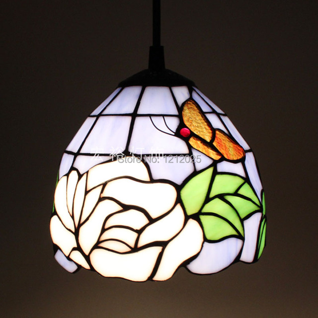 Fantastic Tiffany Style Rose Pendant Lamp With Butterfly Stained Glass Lampshade Small Bars Dining Hanging Light