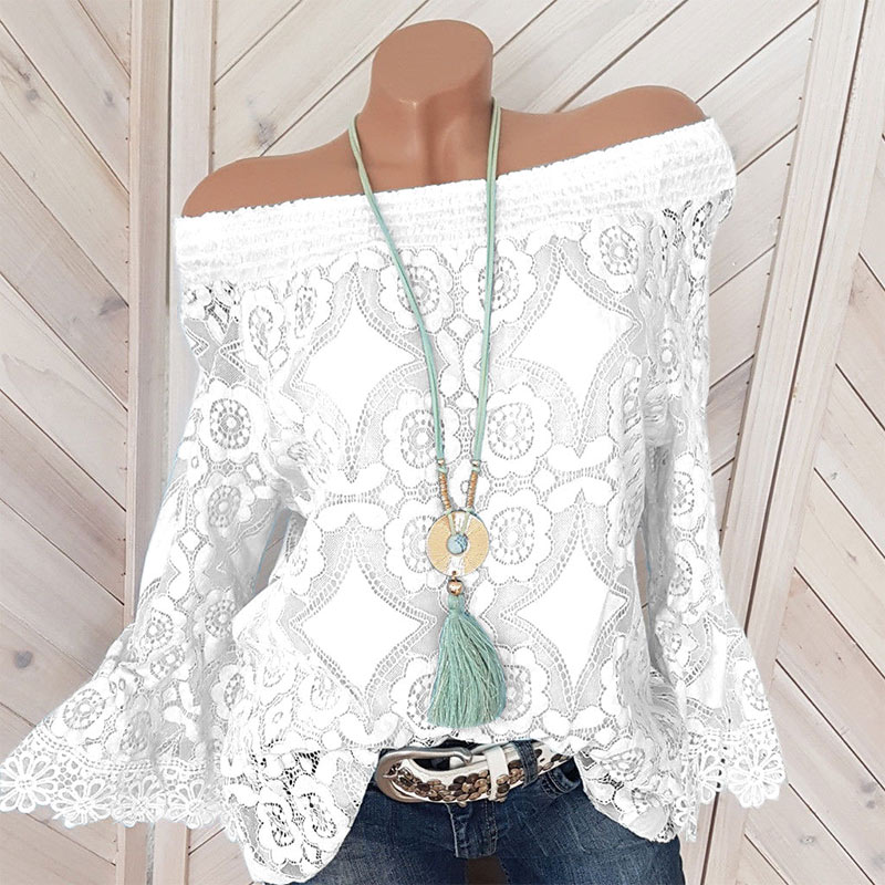 Women's Lace Ruffles Shirt Top Off Shoulder Plus Size 5XL Long Butterfly Sleeve Feminine Blouse Tops Summer Lady Elegant Clothes