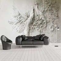 Papel tapiz De foto personalizado 3D en relieve Pavo Real sala De estar TV Fondo Papel De pared rollo decoración del hogar arte Mural Papel De pared