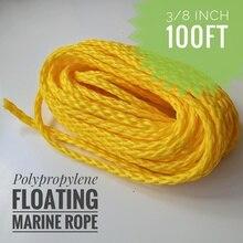 3/8 นิ้ว 100ft Heavy Duty น้ำหนักเบา Hollow Polypropylene Floating Anchor Mooring เชือก Dock เชือกเชือกเรือ Sailing เชือก