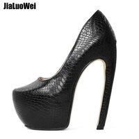 Jialuowei/женские туфли лодочки на очень высоком каблуке 18 см, пикантная обувь на платформе в необычном стиле с изогнутым каблуком, обувь без шну